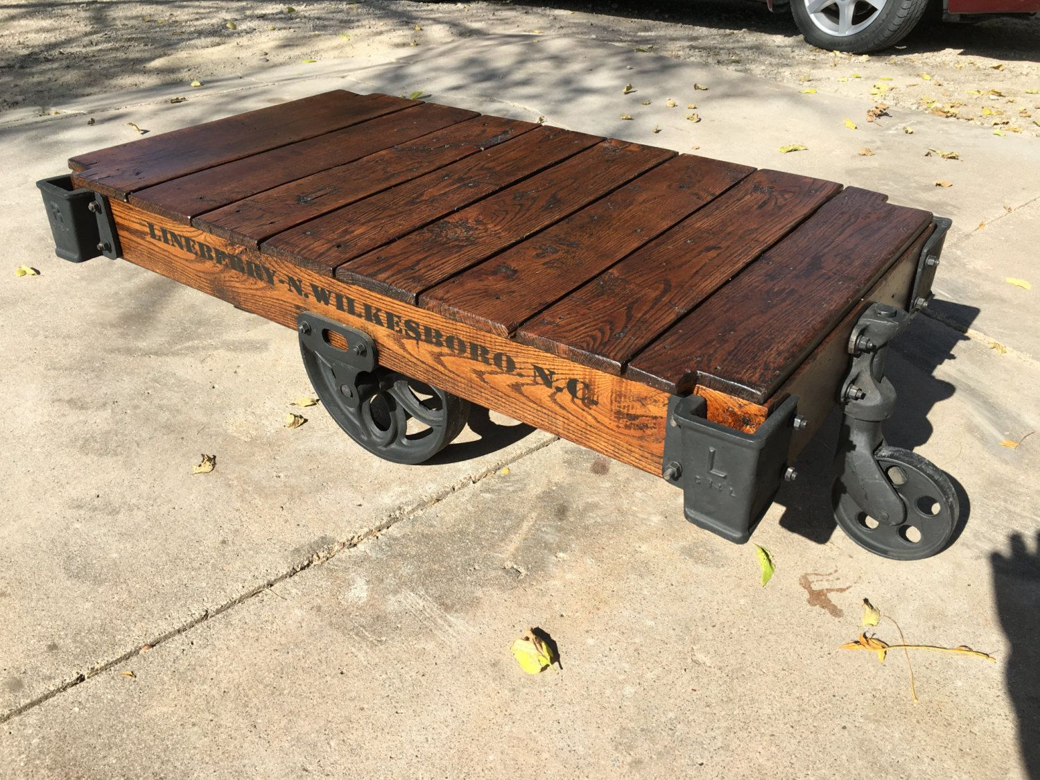 Lineberry Factory Cart / Railroad Cart Coffee Table by