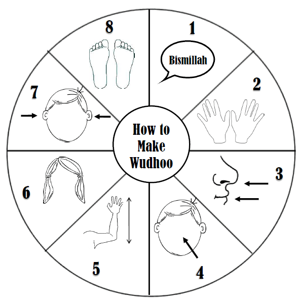 Use the Wudhoo Wheel to reinforce the steps of wudhoo and