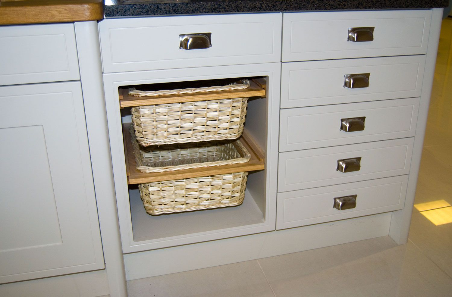 kitchen basket storage how to make cabinet doors a wicker pull out unit example diy