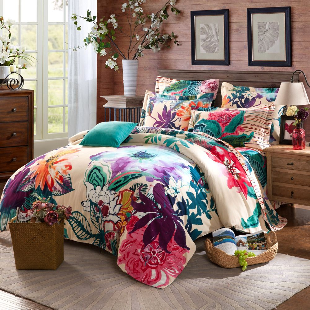 Twin full queen size 100%cotton Bohemian Boho Style floral