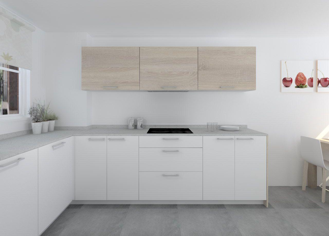 Cocina Santos Modelo Ariane Estratificado Blanco Roble
