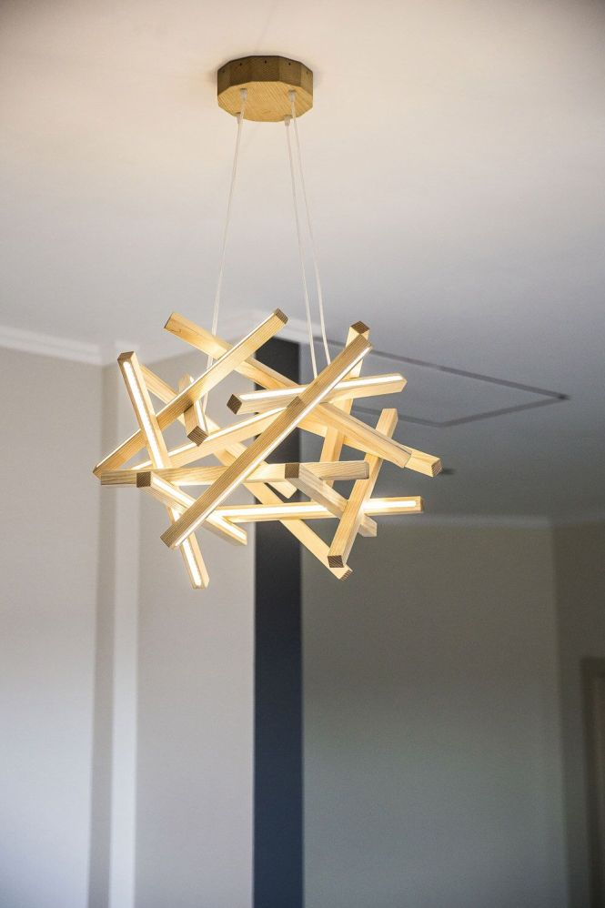 Wooden Chandelier Led Lamp Wood Modern Home Decoration Unique Lighter Round Light Fixture By