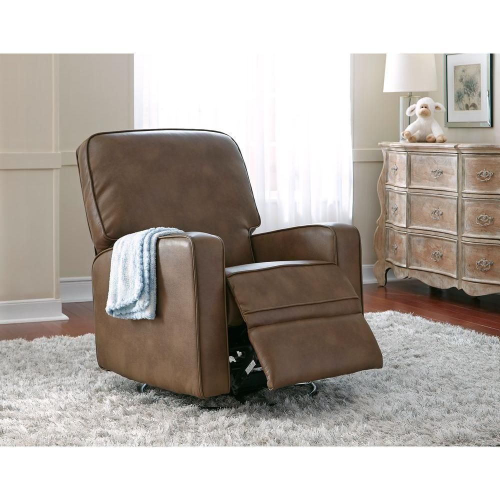 Sutton Chestnut Brown Leather Swivel Recliner  Home