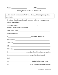 Writing Simple Sentences Worksheet   Patricia Bailey ...