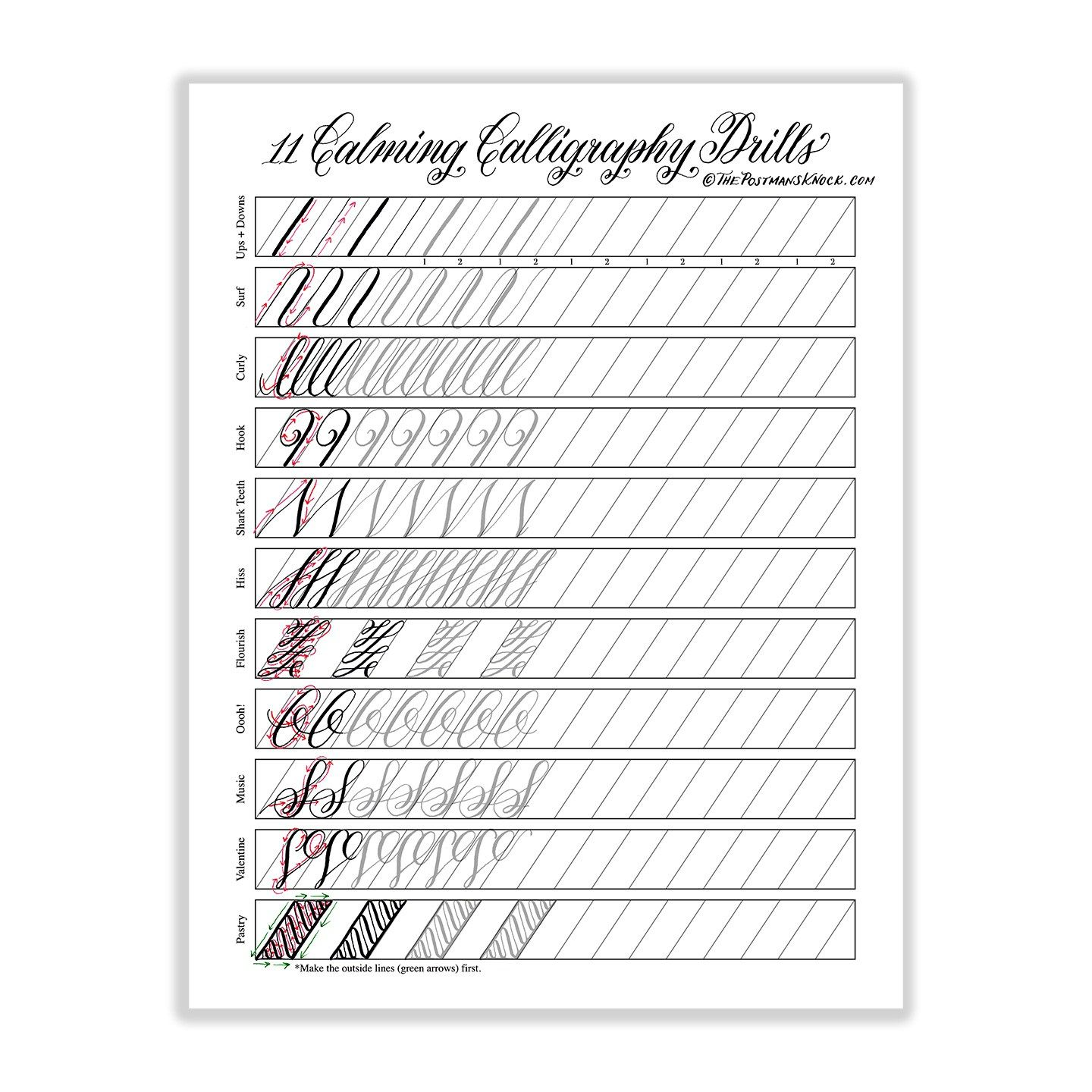 Copperplate Practice Sheets