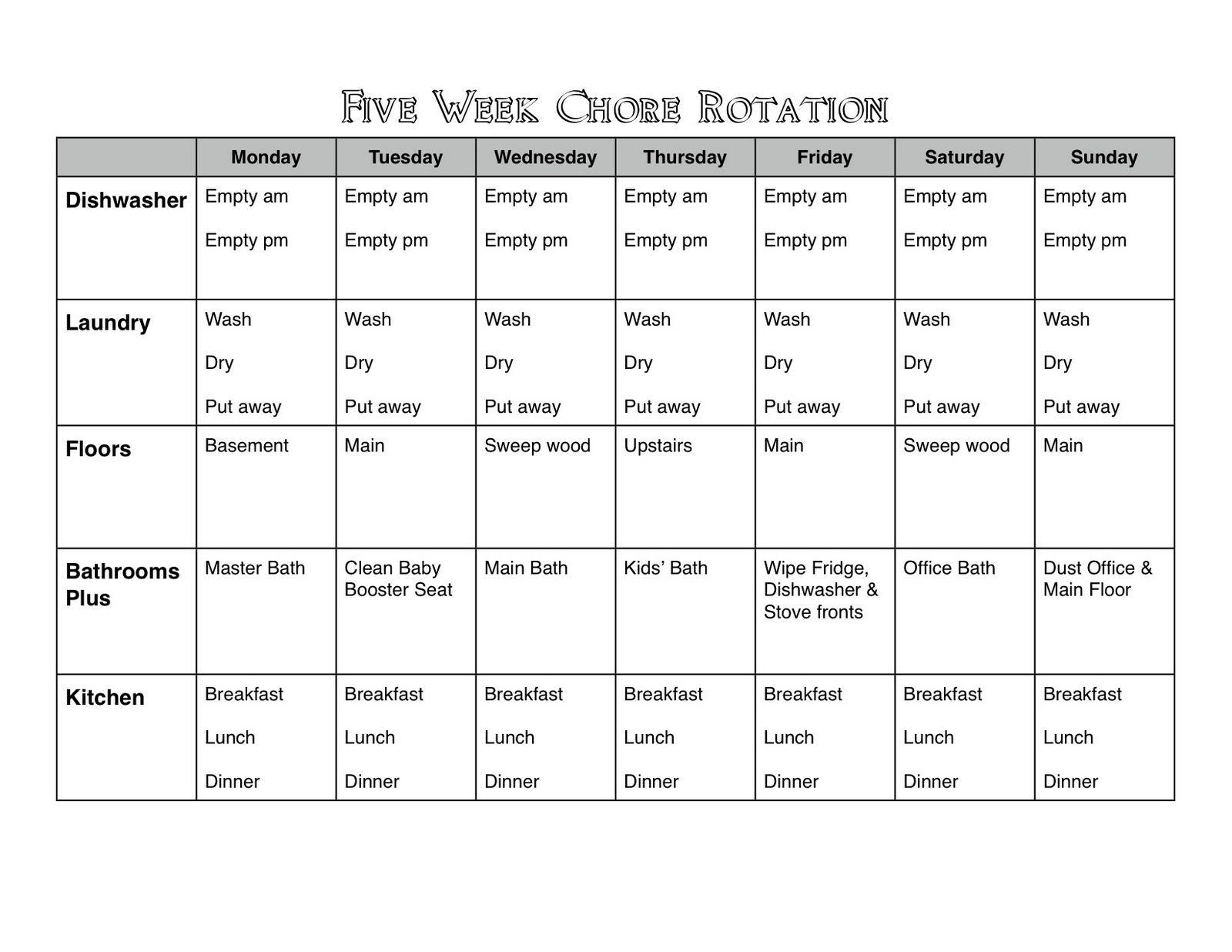 5 Week Chore Chart
