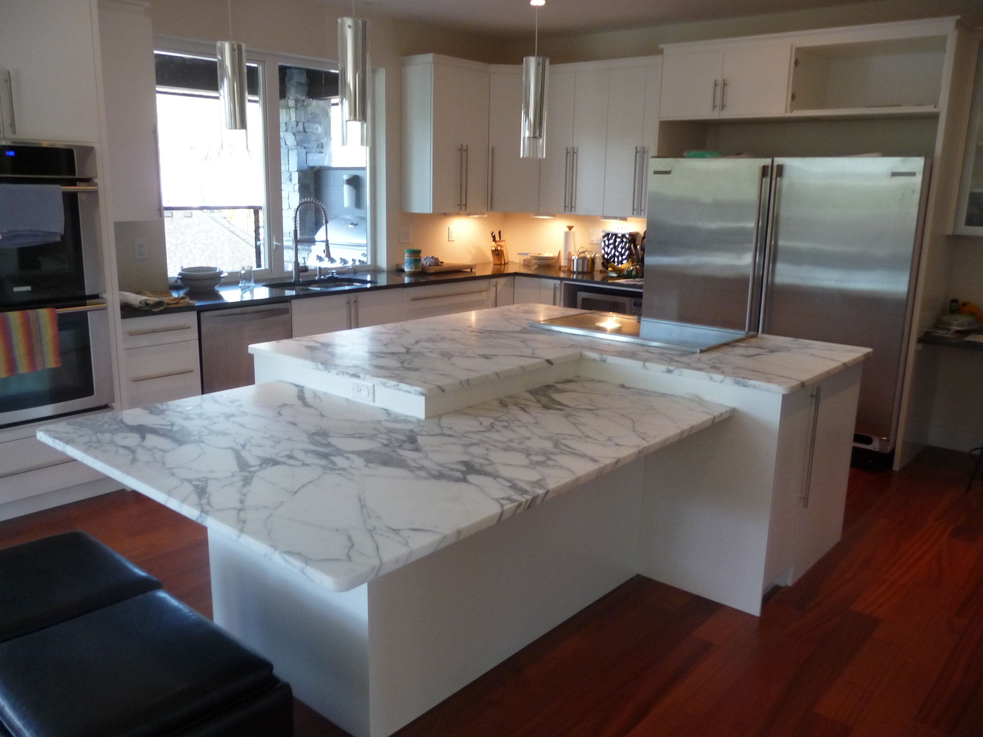 kitchen island marble top bar designs two level in arabascato and