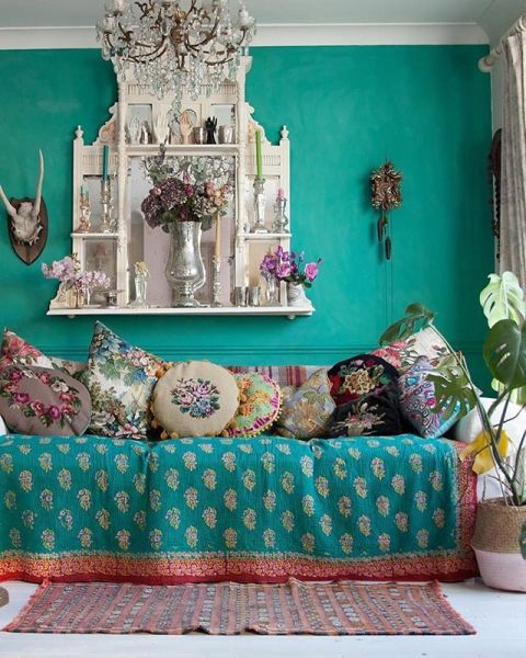 turquoise bohemian bedroom ideas Janice Issit's gorgeously turquoise living room | boho, gypsy, hippie decor | Pinterest