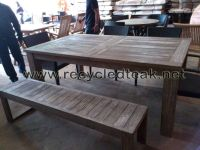 Patio Table and Bench Set Rustic Furniture | Recycled Teak ...