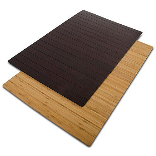 casa pura non-slip bamboo bath mat, cherry brown - 24 x 36 (2 ft x