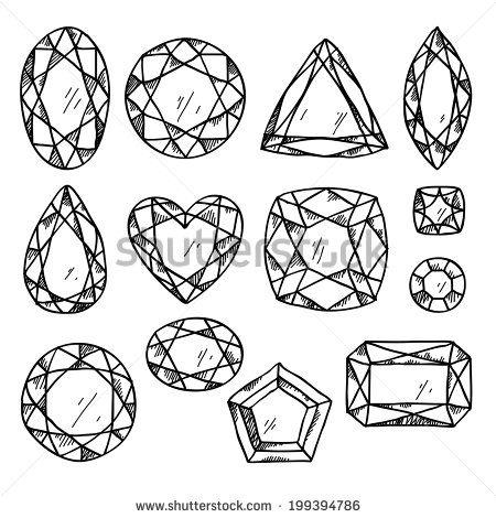 Set of black and white jewels. Hand drawn gemstones