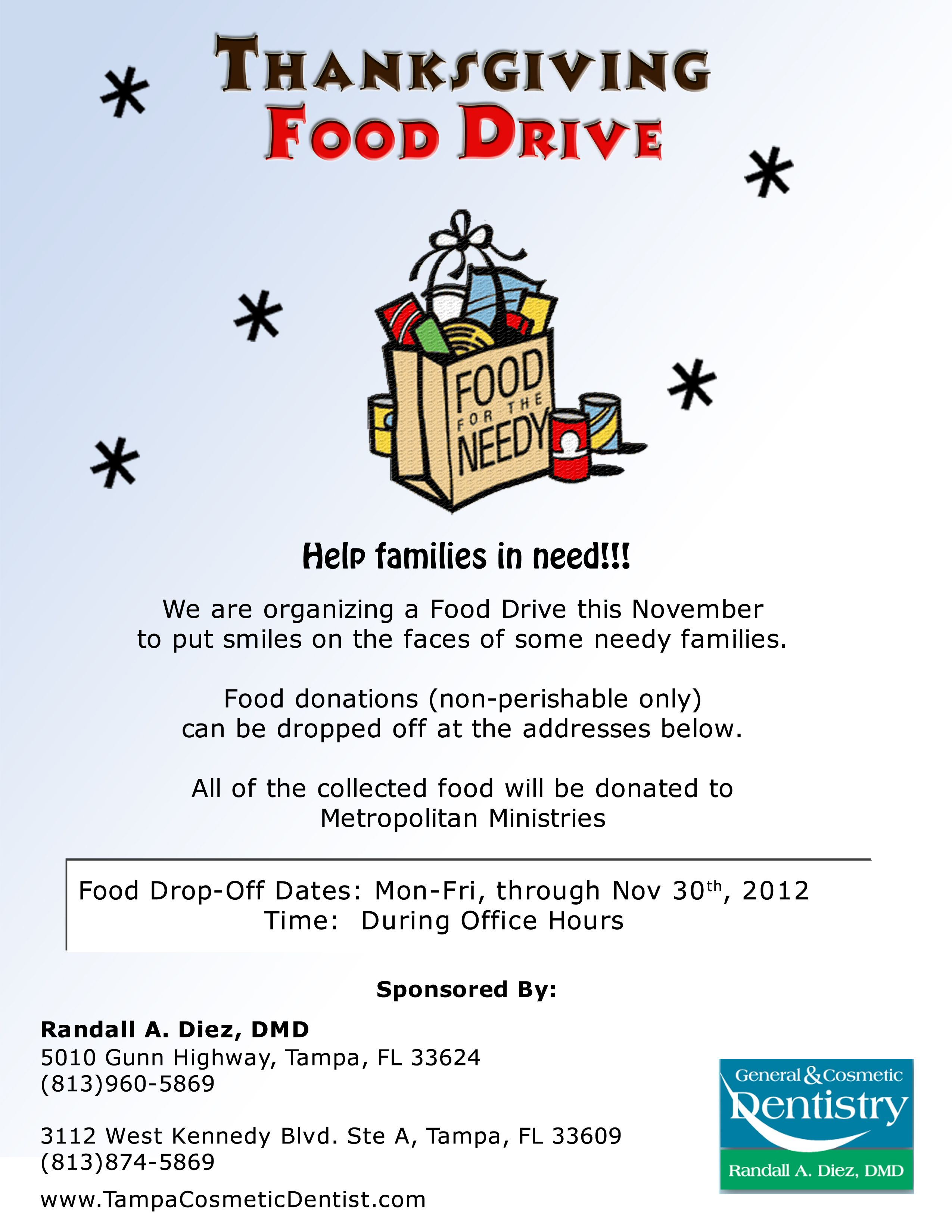 Thanksgiving Food Drive Poster Ideas