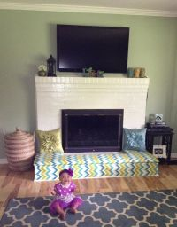 Baby proofing fireplace. DIY Fireplace bench. Cut plywood ...