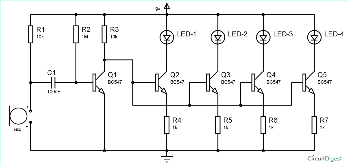 BC547 Based Led Music Light Circuit Diagram Electronics