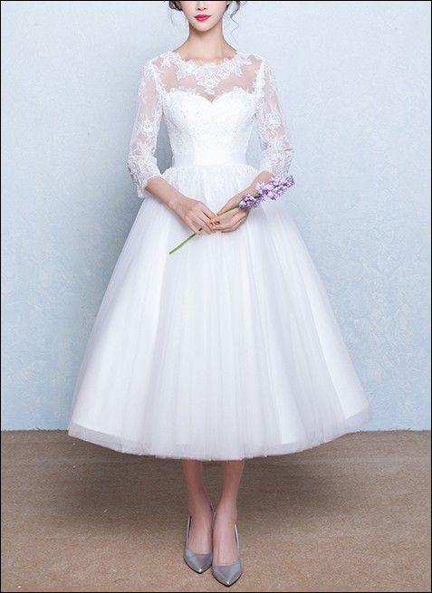 50er Jahre Brautkleid Mit 3 4 Ärmeln Kleider Pinterest