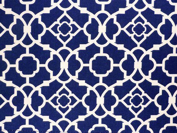 Blue Kitchen Curtain With Geometric Lattice Pattern Waverly