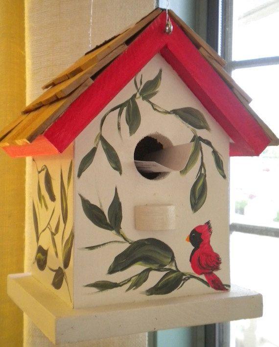 Cardinal Hand Painted Bird House By Catherineklassen On Etsy