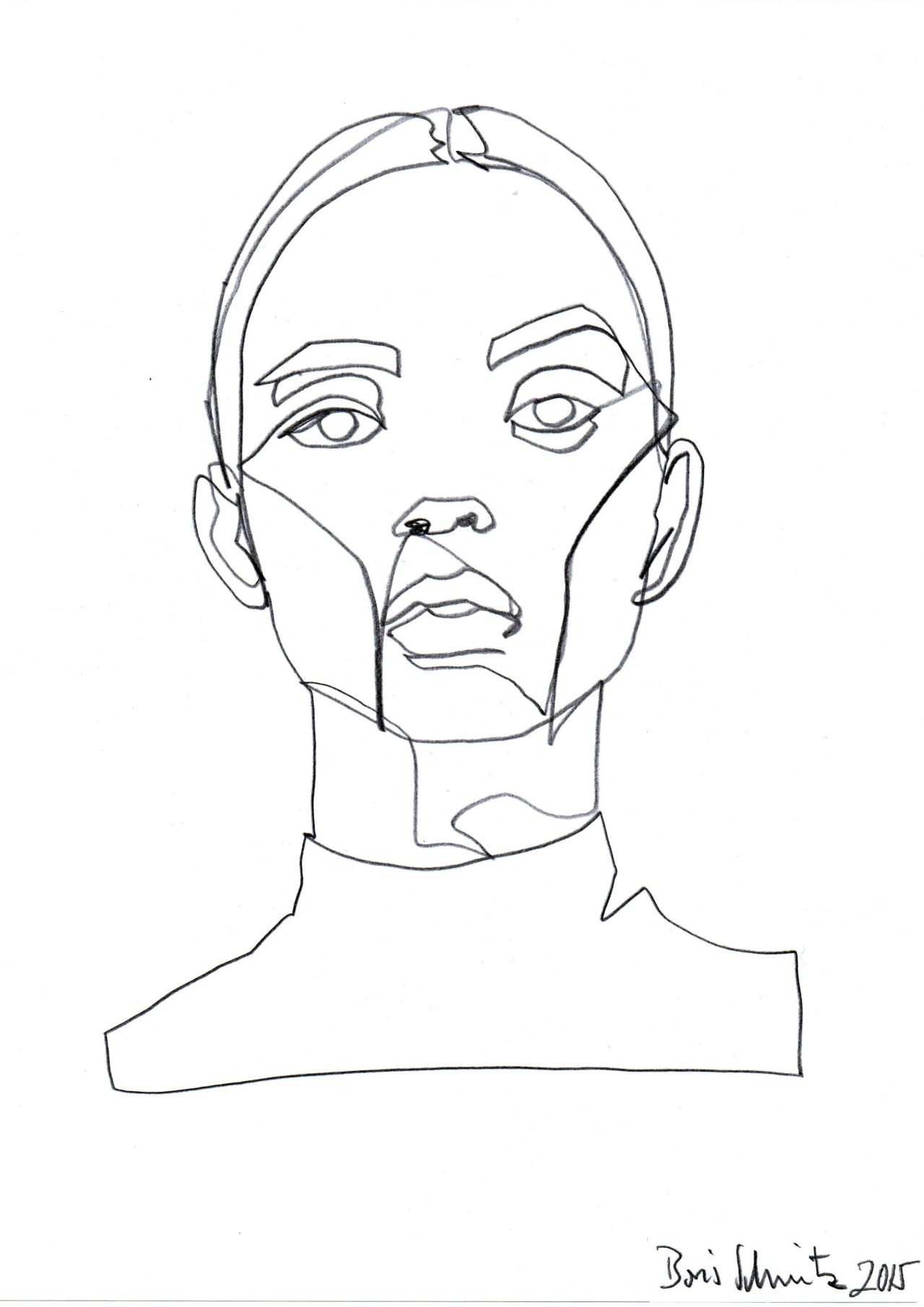 "borisschmitz: "" ""Gaze 324″, continuous line drawing by"