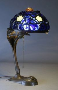A period Austrian chunk jewel leaded glass lampshade on a ...