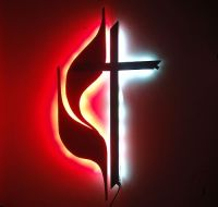 United Methodist Cross & Flame Logo Sign with white & red ...