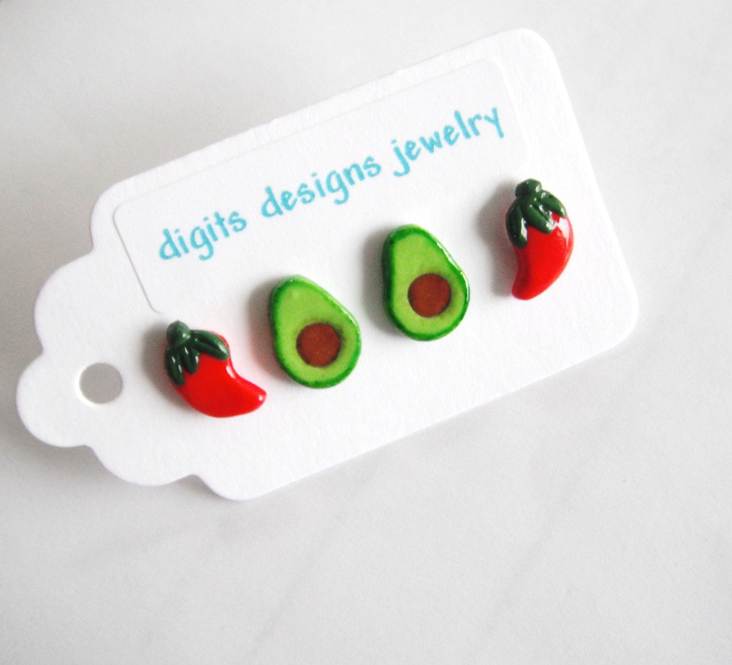 Earrings Avocado and Chili Peppers handmade polymer clay