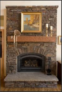 Architecture Fireplace Stone With Wooden Mantle Also Stone ...