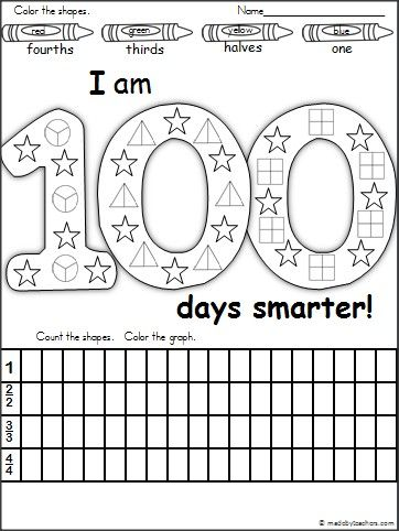 This is a 100th Day of School fraction and graphing