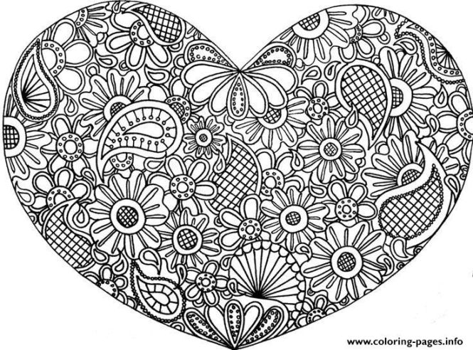 Print Mandala Heart Love 2017 Coloring Pages