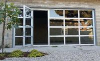 Glass Garage Doors with Passing Door : Full View Anodized ...