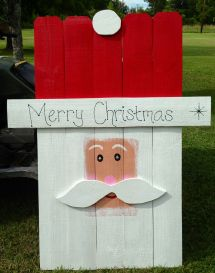 Wooden Yard Art Picket Santa