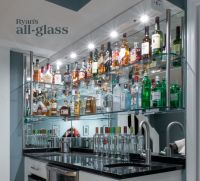 Hanging stack bar with glass shelves and mirror wall ...