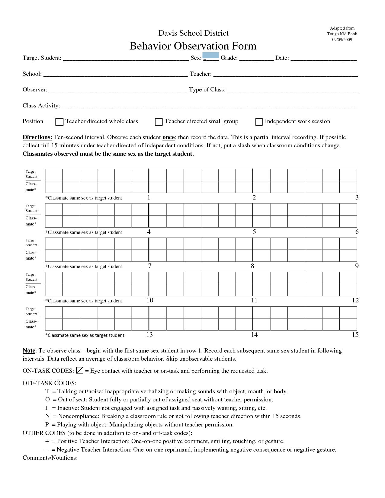 Student Behavior Observation Form