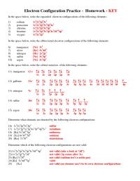 Exercise Electron Configurations Worksheet Electron ...