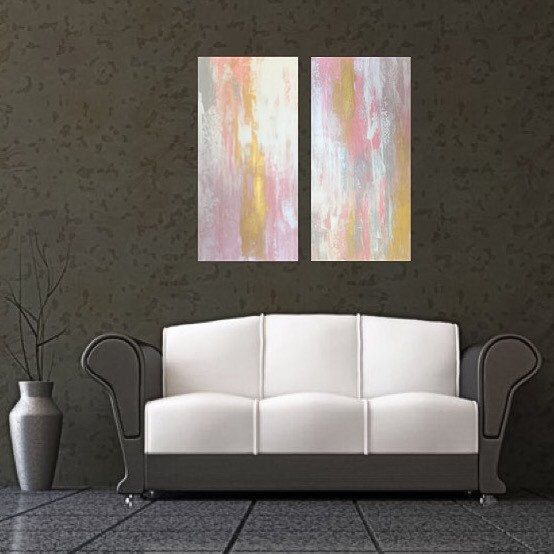 Custom art large pink and gold abstract painting wall also rh pinterest