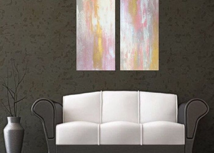 Custom art large pink and gold abstract painting wall also