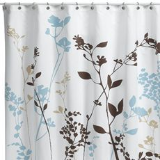 Reflections Floral Fabric Shower Curtain The Foliage Silhouette Of