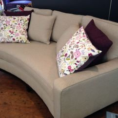 Cushions For 3 Seater Wooden Sofa Orange Mid Century Modern 213 Cm X 101 Curve Dark Wood Plinth And Legs