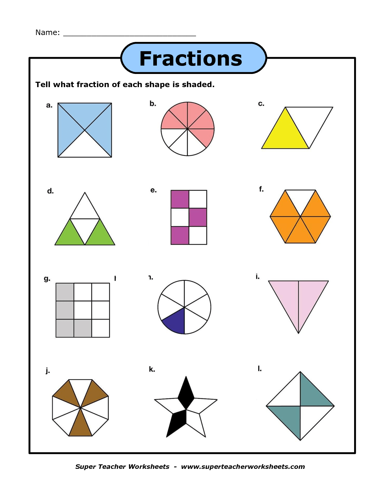 Worksheet On Identifying Fractions