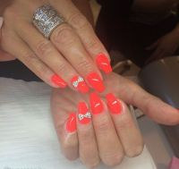 Short coffin red nails with bow art | Nails | Pinterest ...