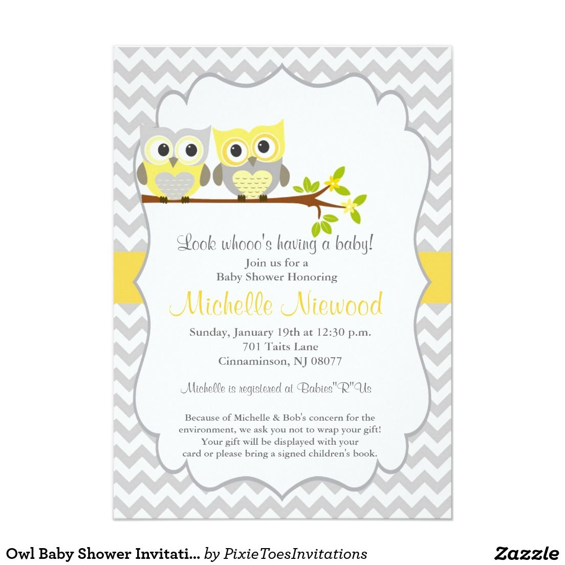 Owl Baby Shower Invitation 5 X 7 Invitation Card