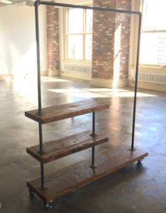 Industrial style garment rack clothing racks for use in fashion showroom or home tailor also rh pinterest