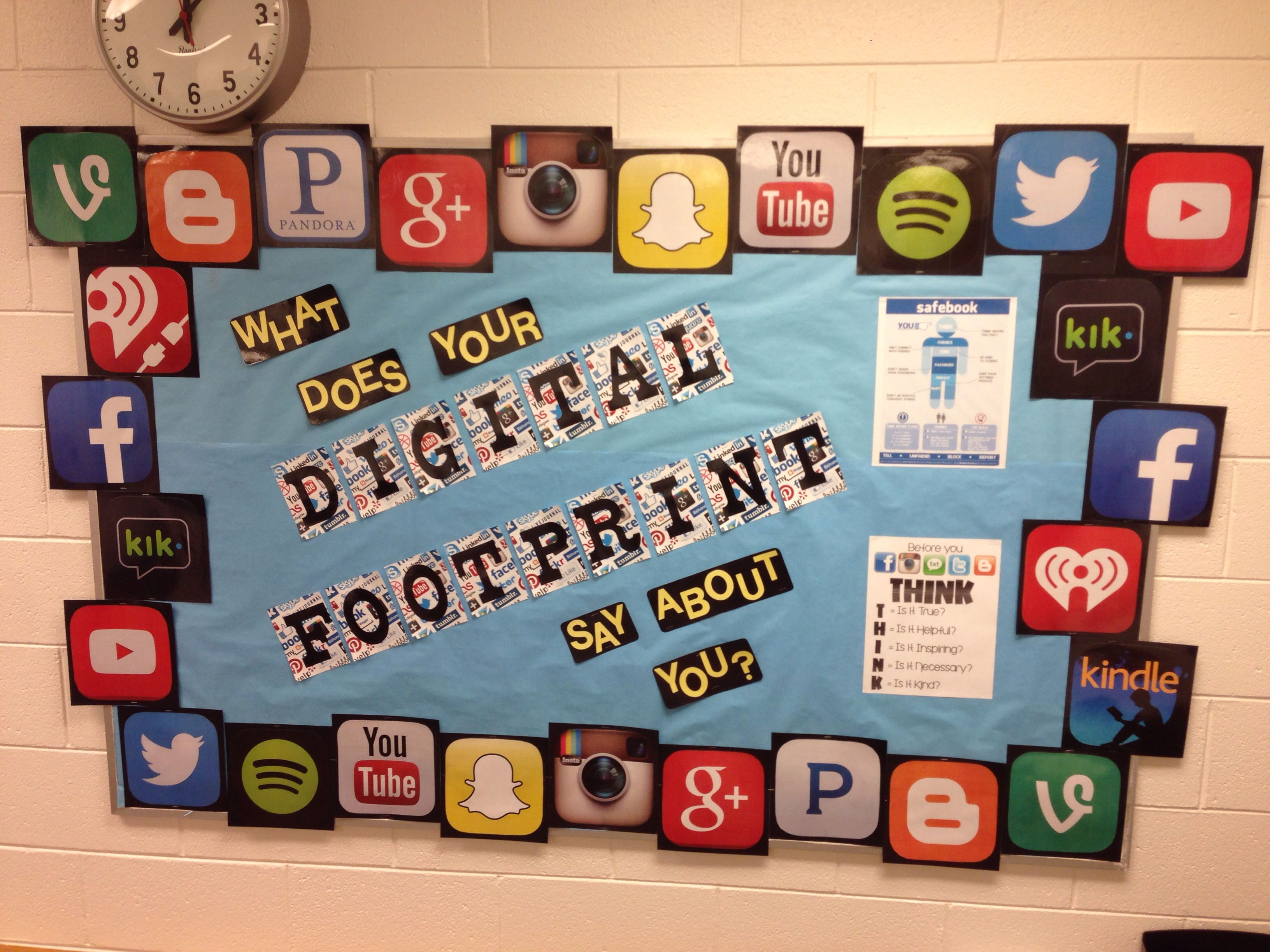Digital footprint bulletin board for my counseling office Online citizenship  Get to work