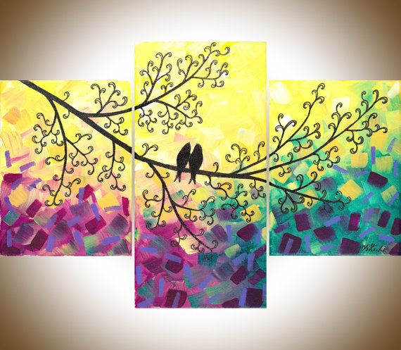 Large painting purple flowers birds wall decor art hanging canvas magic love by qiqigallery walls and yellow  also extra rh pinterest