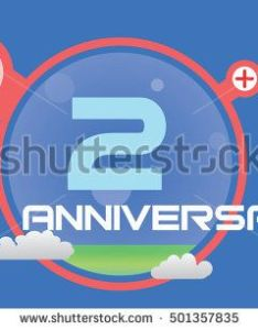Anniversary logo with red circle green liquid and clouds for birthday also rh pinterest