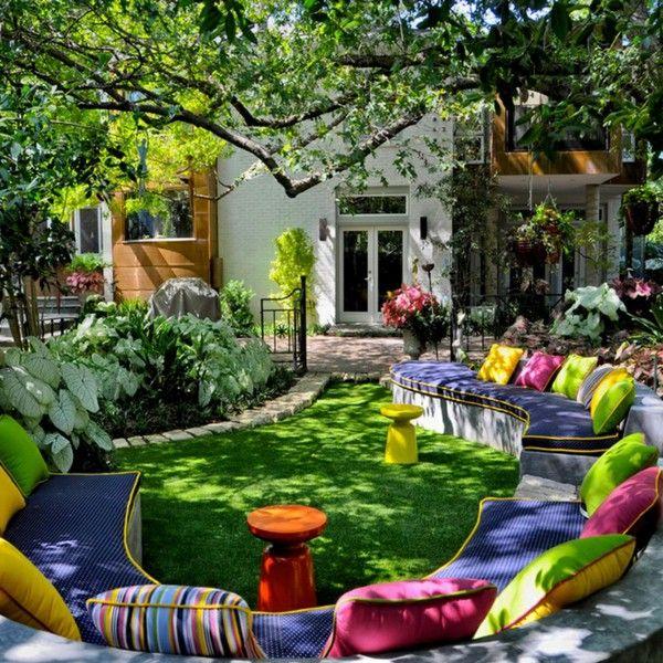 Garden Design Ideas Outdoor Seating Area Many Cushion Grass