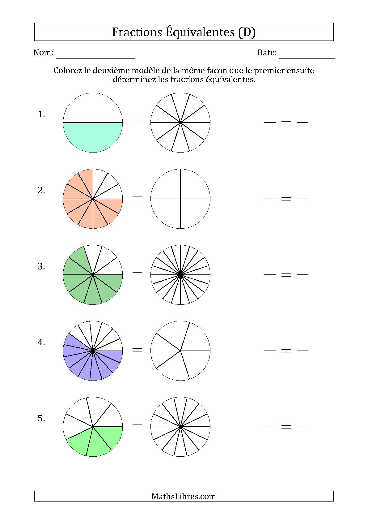 La Fiche D Exercices De Maths Fractions Equivalentes A L