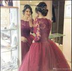 Burgundy Ball Gown Prom Dresses Sleeve