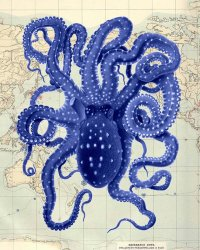 Octopus Vintage Blue on Map, Octopus print Nautical print ...