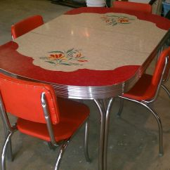 Vintage Kitchen Table Center Island Formica 4 Chairs Chrome Orange Red