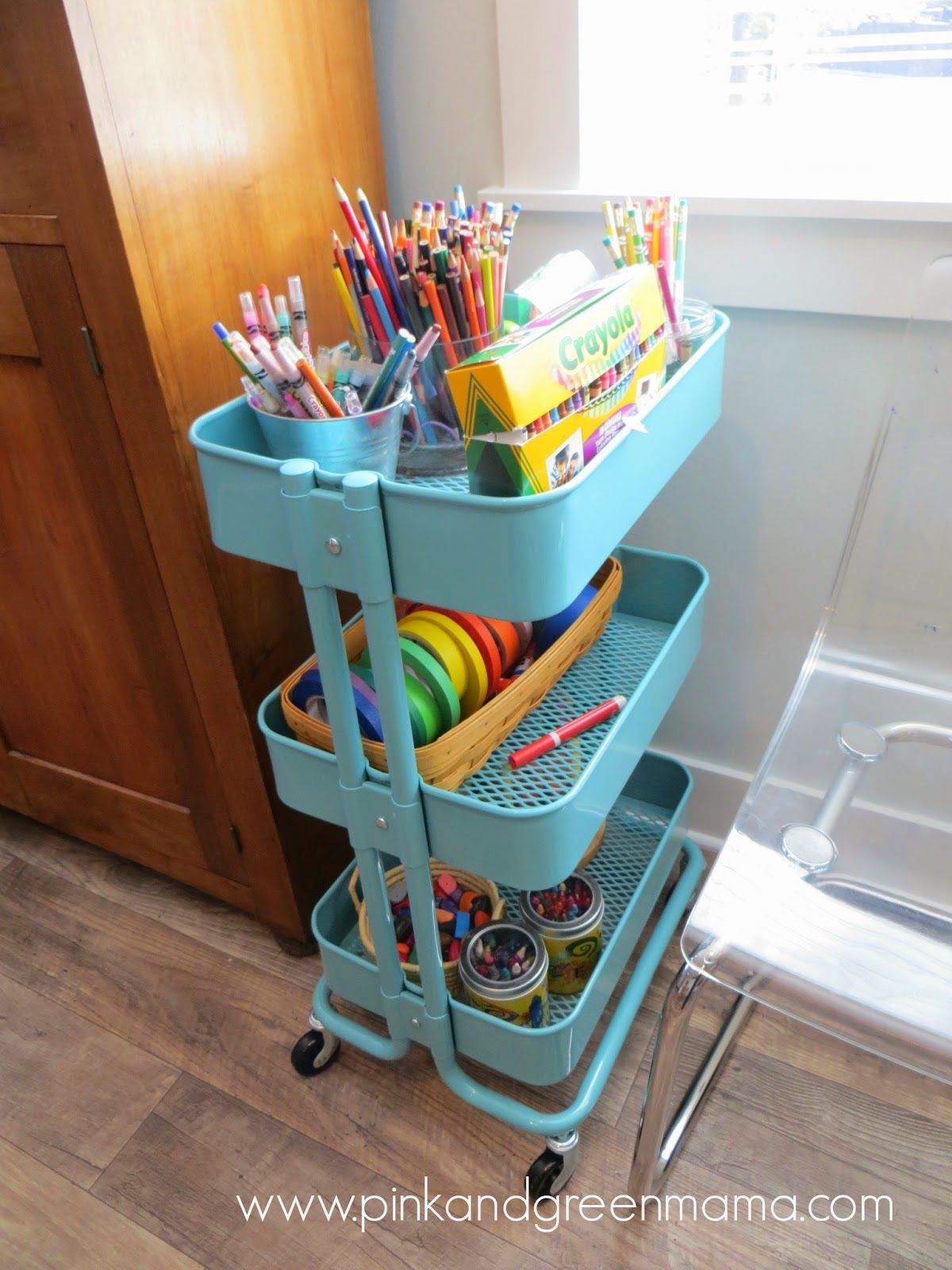 This IKEA cart makes for the perfect art craft cart Kids